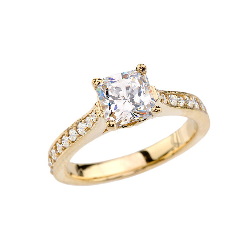 Yellow Gold Princess Cut Diamond Engagement/Proposal Ring With Princess Cut Cubic Zirconia Center Stone