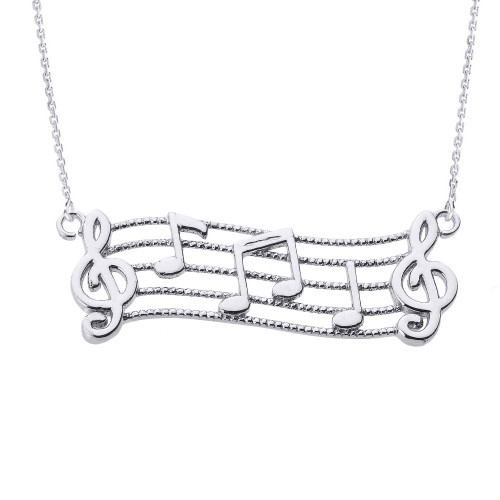 Sterling Silver Treble Clef with Musical Notes Pendant Necklace