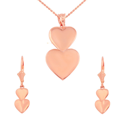 14K Solid Rose Gold Two Stacked Hearts Love Pendant Necklace Earring Set