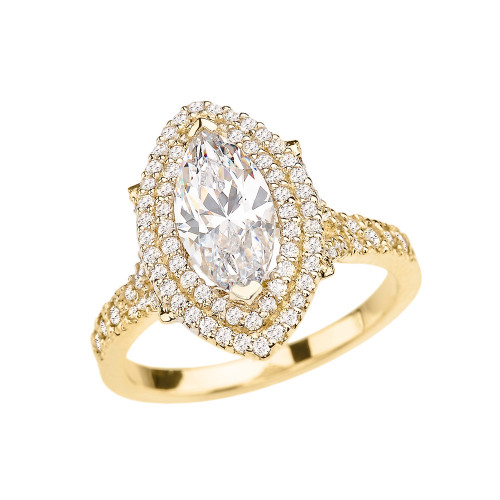 Yellow Gold Double Raw Halo Diamond Engagement Ring With 3 Ct Marquise Cubic Zirconia In The Center