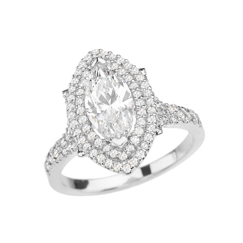 White Gold Double Raw Halo Diamond Engagement Ring With 3 Ct Marquise Cubic Zirconia In The Center