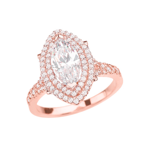Rose Gold Double Raw Halo Engagement Ring With Over 4 Ct Cubic Zirconia