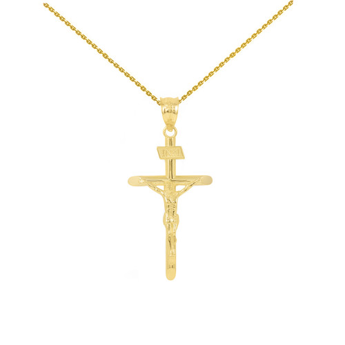"Solid Yellow Gold INRI Cross Pendant Necklace ( 1.39"")"