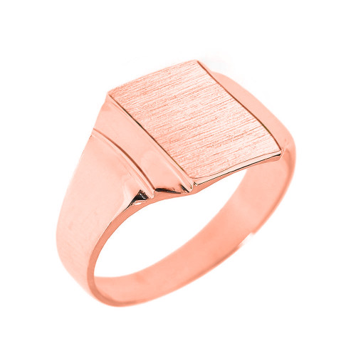 Engravable Solid Rose Gold Men's Signet Ring
