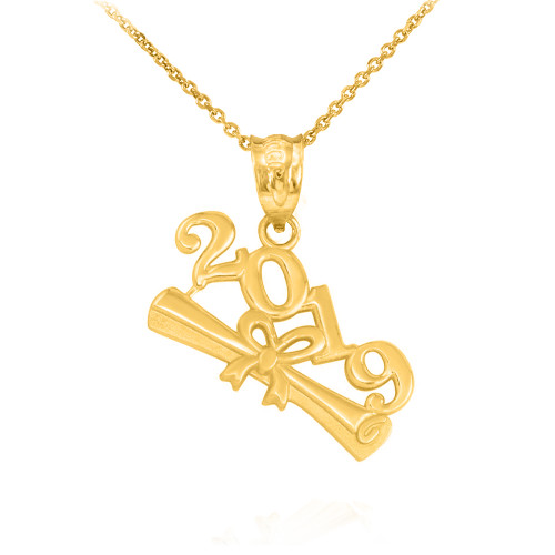 Solid Yellow Gold Class of 2019 Graduation Pendant Necklace