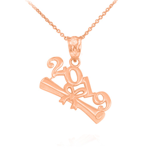 Solid Rose Gold Class of 2019 Graduation Pendant Necklace