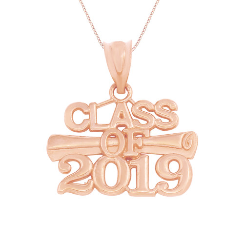 Solid Rose Gold Class of 2019 Graduation Certificate Pendant Necklace