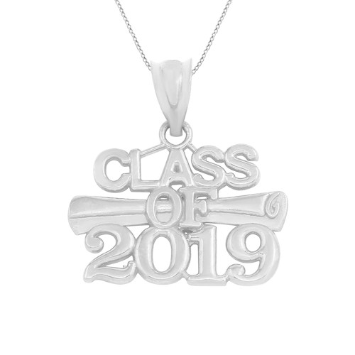 Solid White Gold Class of 2019 Graduation Certificate Pendant Necklace