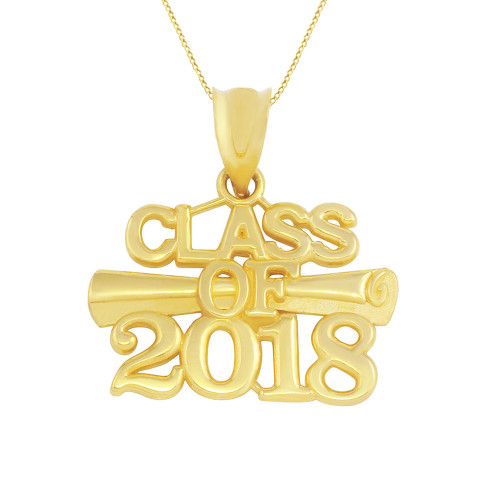 Solid Yellow Gold Class of 2018 Graduation Certificate Pendant Necklace