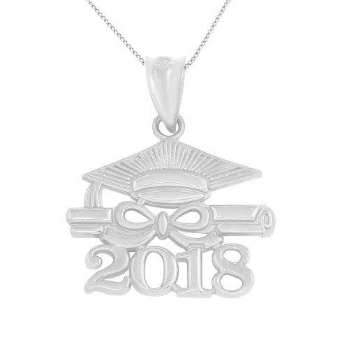 Solid White Gold Class of 2018 Graduation Diploma & Cap Pendant Necklace