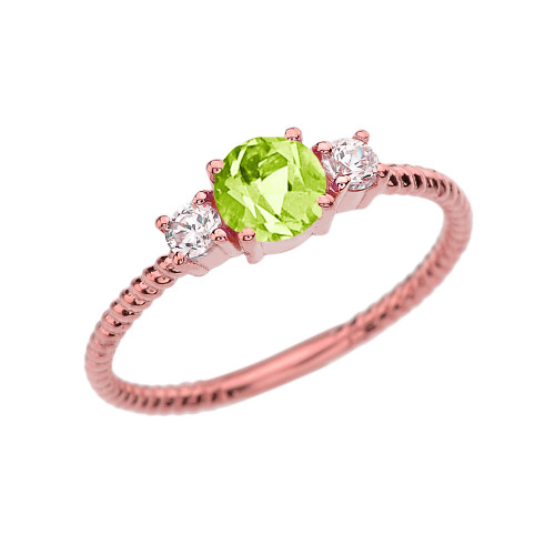 Dainty Rose Gold Peridot and White Topaz Rope Design Engagement/Promise Ring