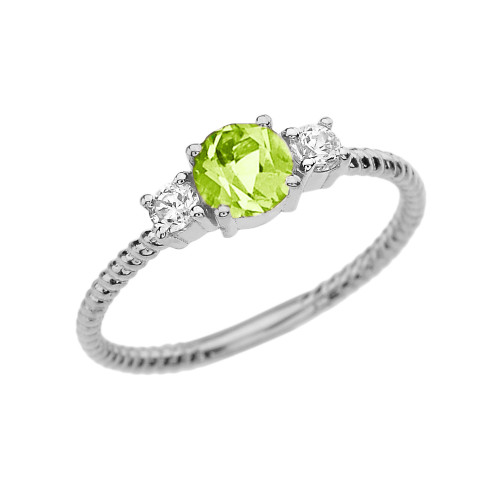 Dainty White Gold Peridot and White Topaz Rope Design Engagement/Promise Ring