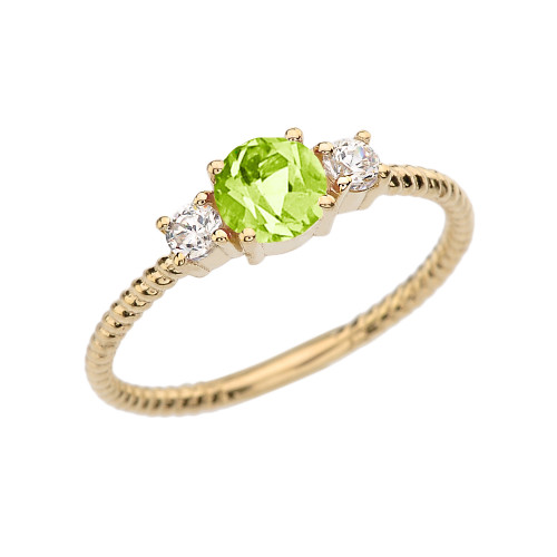 Dainty Yellow Gold Peridot and White Topaz Rope Design Engagement/Promise Ring