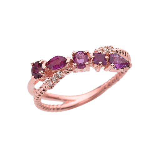 Rose Gold Criss-Cross Waterfall Mix Color Genuine Rubies and Diamonds Designer Ring
