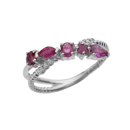 White Gold Criss-Cross Waterfall Mix Color Genuine Rubies and Diamonds Designer Ring