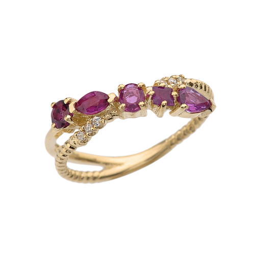 Yellow Gold Criss-Cross Waterfall Mix Color Genuine Rubies and Diamonds Designer Ring