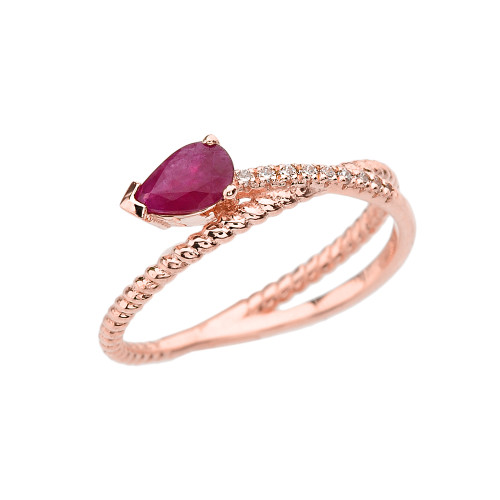 Rose Gold Criss-Cross Ruby Rope and Diamonds Designer Ring