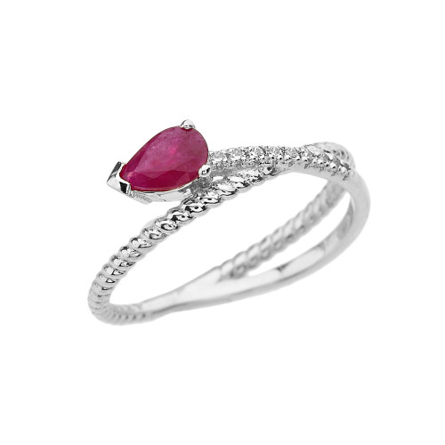White Gold Criss-Cross Ruby Rope and Diamonds Designer Ring
