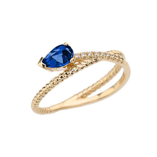 Yellow Gold Criss-Cross Sapphire Rope and Diamonds Designer Ring