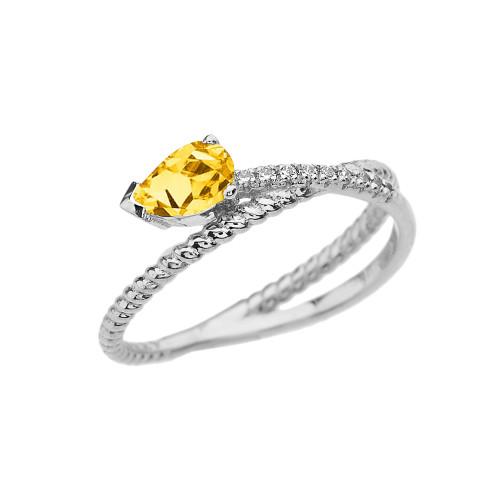 White Gold Criss-Cross Citrine Rope and Diamonds Designer Ring