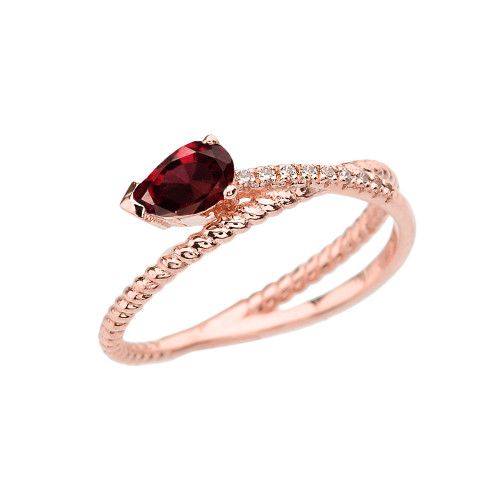 Rose Gold Criss-Cross Garnet Rope and Diamonds Designer Ring