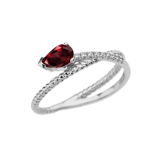 White Gold Criss-Cross Garnet Rope and Diamonds Designer Ring