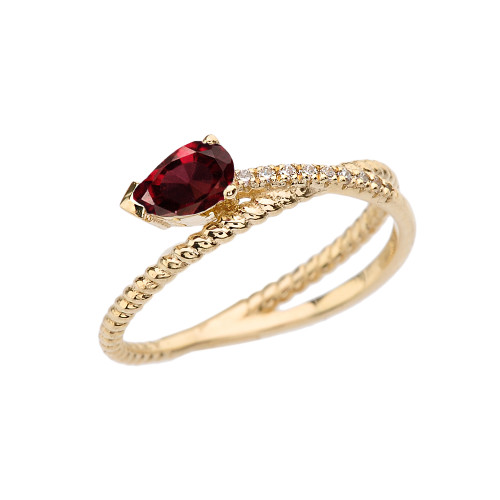 Yellow Gold Criss-Cross Garnet Rope and Diamonds Designer Ring