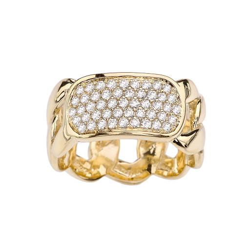 Yellow Gold Personalized ID Cuban Link Ring With Cubic Zirconia