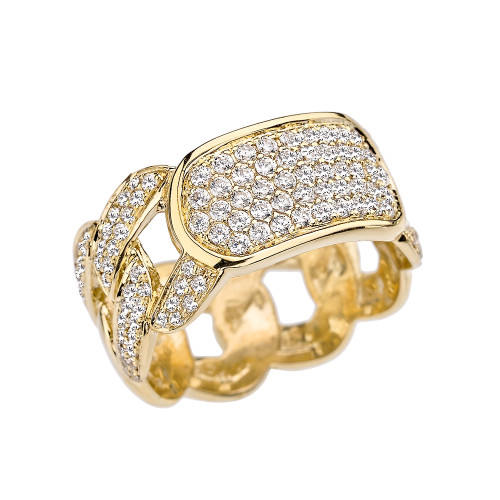 Yellow Gold Personalized ID Cuban Link Fancy Ring With Cubic Zirconia Around