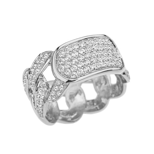 White Gold Personalized ID Cuban Link Fancy Ring With Cubic Zirconia Around