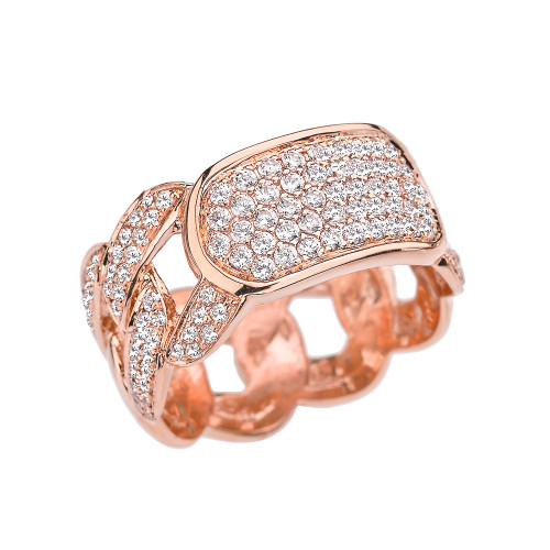 Rose Gold Diamond Personalized ID Cuban Link Fancy Ring