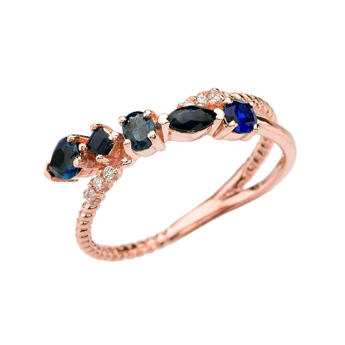 Rose Gold Criss-Cross Waterfall Mix Color Genuine Sapphires and Diamonds Designer Ring
