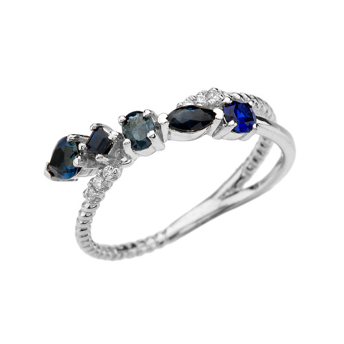 White Gold Criss-Cross Waterfall Mix Color Genuine Sapphires and Diamonds Designer Ring