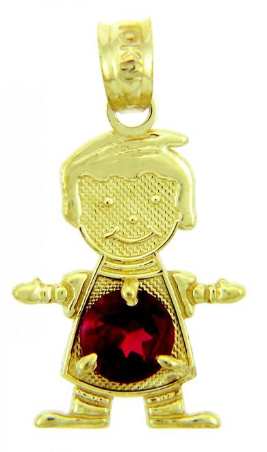 Dark Red Gold Birthstone Charm