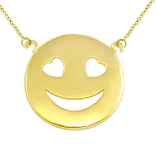 Solid Yellow Gold Smiley Face Heart Eyes Sideways Pendant Necklace