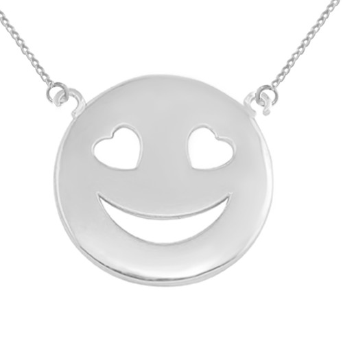 Solid White Gold Smiley Face Heart Eyes Sideways Pendant Necklace
