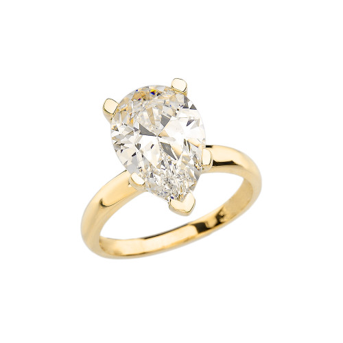 Yellow Gold Pear Shape CZ Engagement/Proposal Solitaire Ring