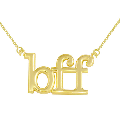 Solid Yellow Gold BFF Best Friends Forever Sideways Pendant Necklace