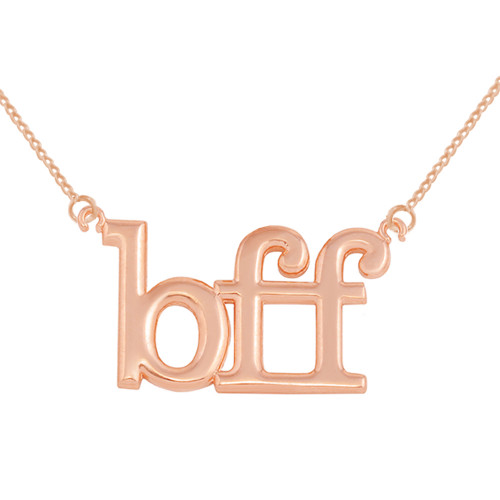 Solid Rose Gold BFF Best Friends Forever Sideways Pendant Necklace