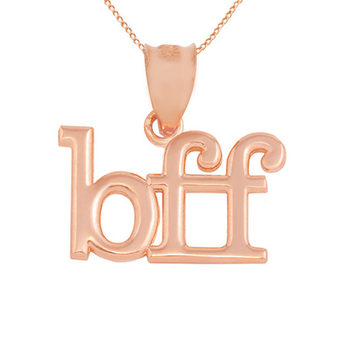 "Solid Rose Gold BFF Best Friends Forever Pendant Necklace (0.79"" )"