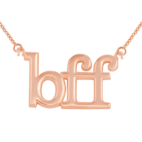 "Solid Rose  Gold BFF Best Friends Forever Sideways Pendant Necklace (0.79"" )"