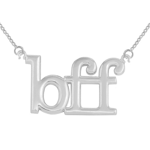 "Solid White Gold BFF Best Friends Forever Sideways Pendant Necklace (0.79"" )"
