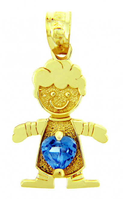 CZ Blue Heart Boy Birthstone Charm