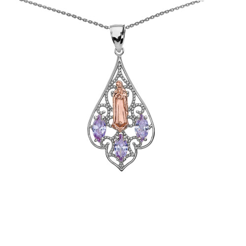 Two-Tone Our Lady of Guadalupe Filigree Pendant Necklace With Lavender CZ
