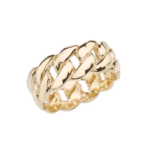 Yellow Gold 8 mm Cuban Link Ring Band