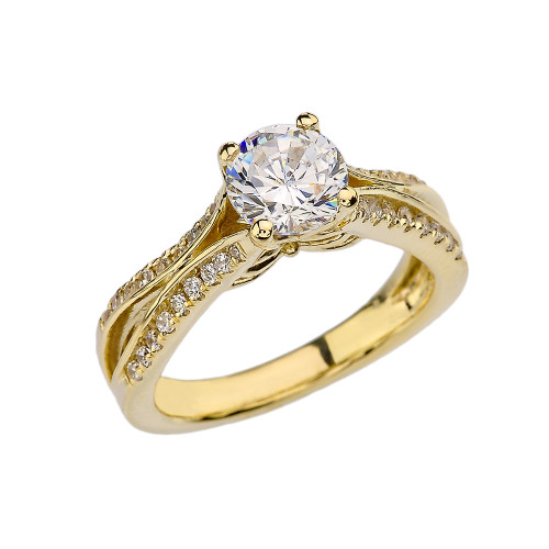 Yellow Gold Double Raw CZ Proposal/Engagement Ring With Cubic Zirconia Center Stone