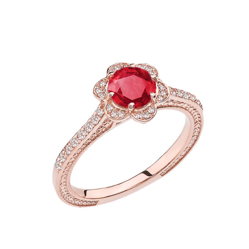 Ruby and Diamond Rose Gold Engagement/Proposal Ring
