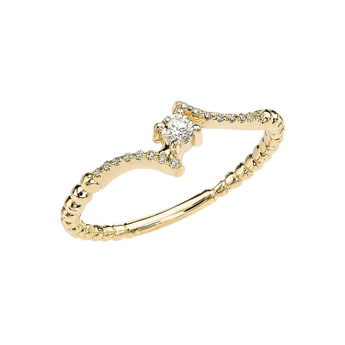 Yellow Gold Dainty Solitaire Diamond Rope Design Engagement/Promise Ring