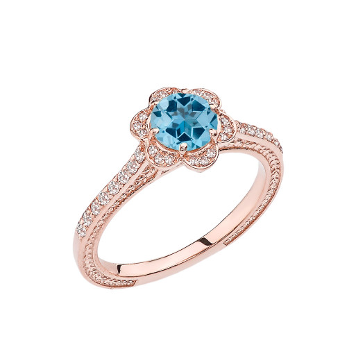 Blue Topaz and Diamond Rose Gold Engagement/Proposal Ring