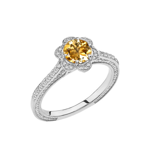 Citrine and Diamond White Gold Engagement/Proposal Ring